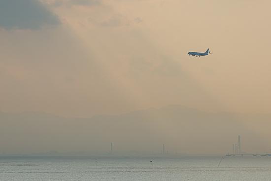 差し込む光と飛行機