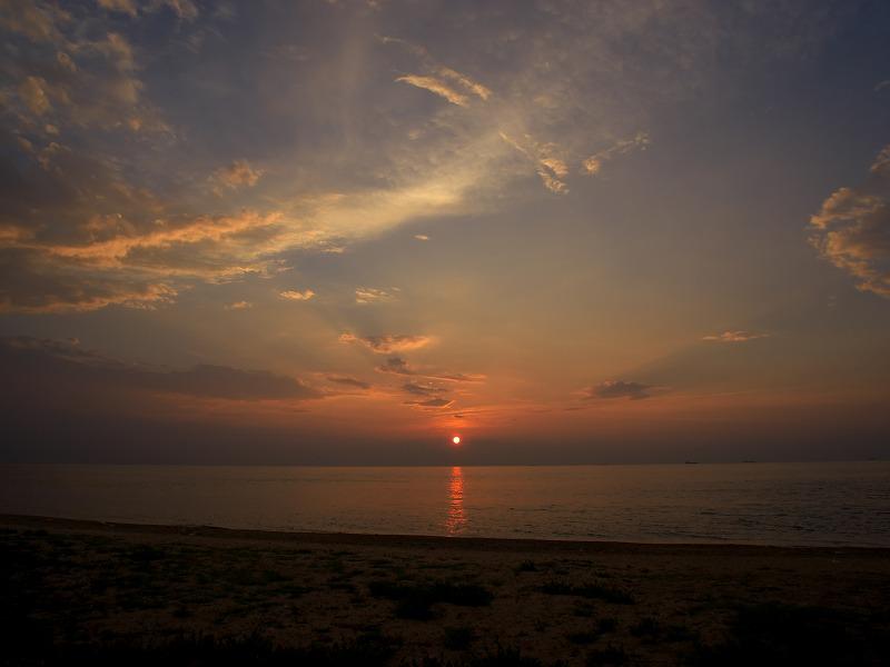 淡路島 野島漁港 夕焼け 夕陽