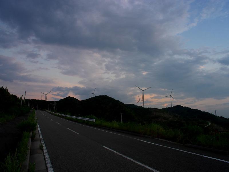 淡路島 野島漁港 夕焼け 夕陽 風力発電