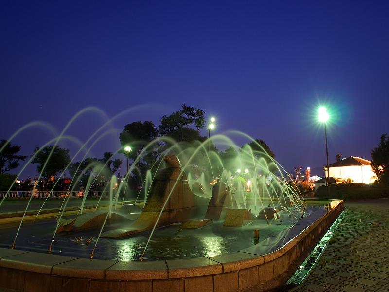 ポートアイランド北公園 噴水 ライトアップ