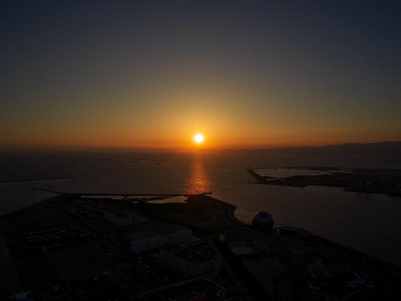 大阪府咲洲庁舎 展望台 夕陽 夕焼け