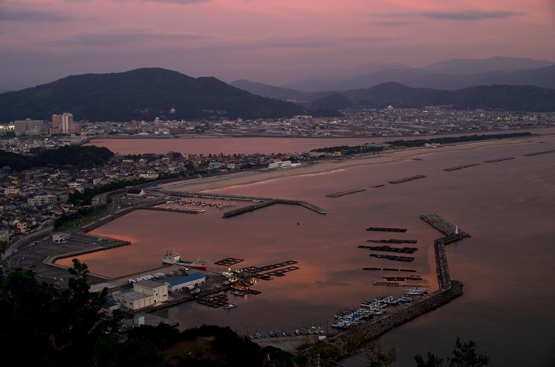 章魚頭姿山展望台からの眺望 夕焼け