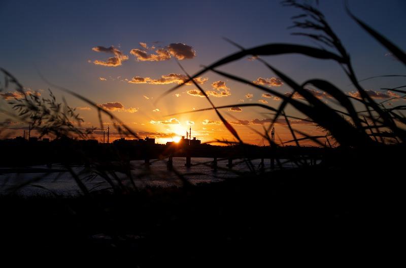 大和川・石川合流地点の夕焼け