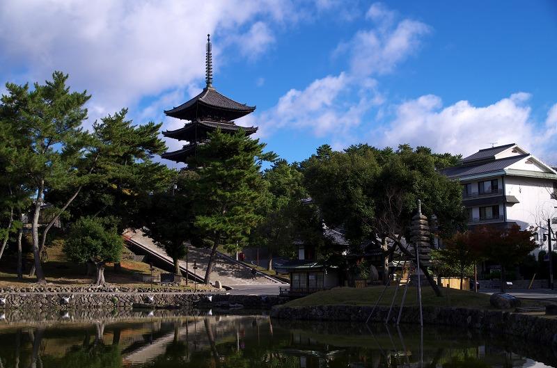 奈良公園 猿沢池 五重の塔