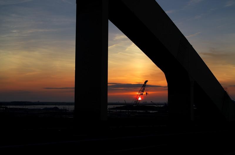 泉大津大橋の夕陽・夕焼け