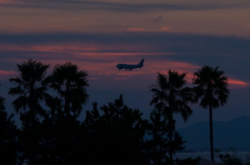 二色の浜公園 夕焼け 飛行機