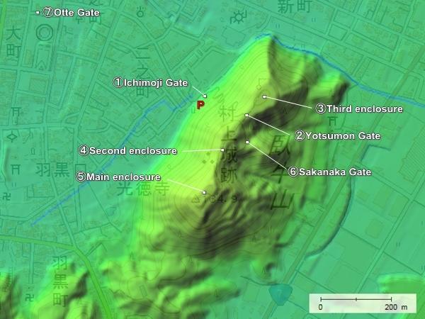 Murakami Castle topography