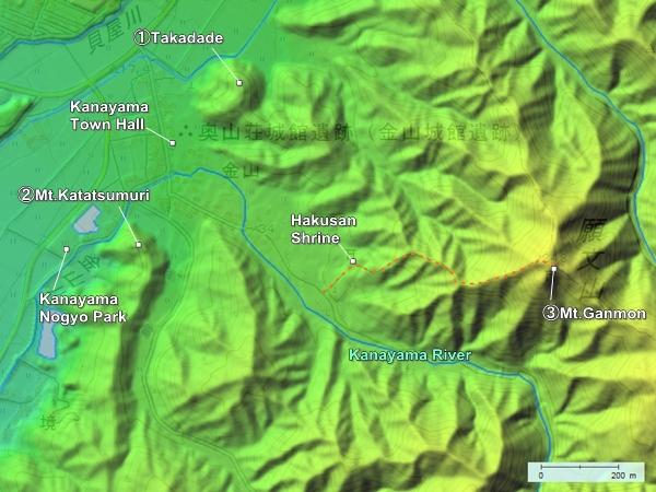 Kanayama Castle topography