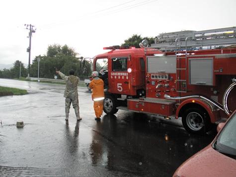消防隊の方に助けてもらい