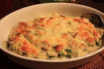白菜と里芋の豆乳味噌グラタン