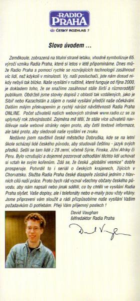 ラジオ・プラハ(チェコ) 2001年3~10月(夏期、A01)案内 チェコ語