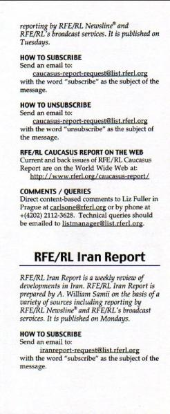 A GUIDE TO RFE/RL E-MAIL PUBLICATIONS