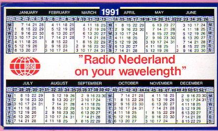 1990年と1991年 Radio Nederland(オランダ) ステッカー型カレンダー