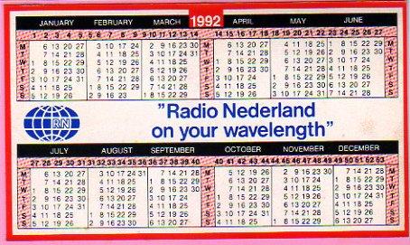 1992年, 1994年, 1996年 Radio Nederland(オランダ) ステッカー型カレンダー
