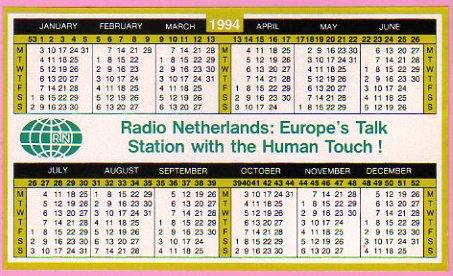 1994年 Radio Netherlands(オランダ) ステッカー型カレンダー