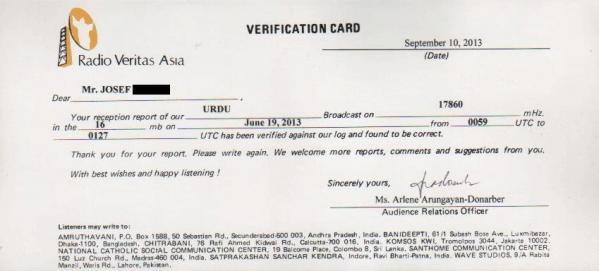 2013年6月19日 ウルドゥー語放送受信 Radio Veritas Asia