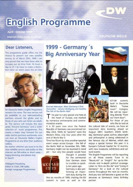 DW DEUTSCHE WELLE English Programme April-October 1999