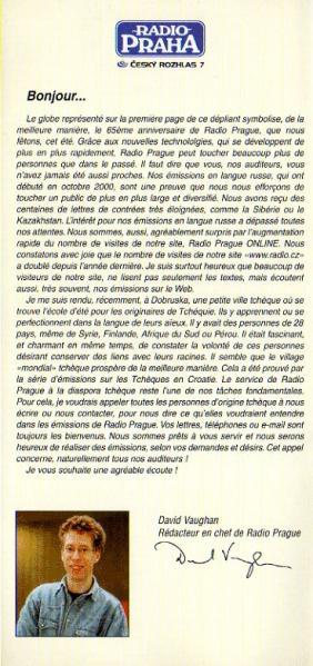 RADIO PRAGUE(チェコ) 2001年夏期 フランス語放送スケジュール表