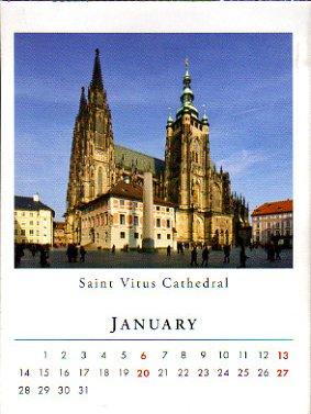 2013年のプラハ(チェコ) ポケットカレンダー 1月, 2月, 3月