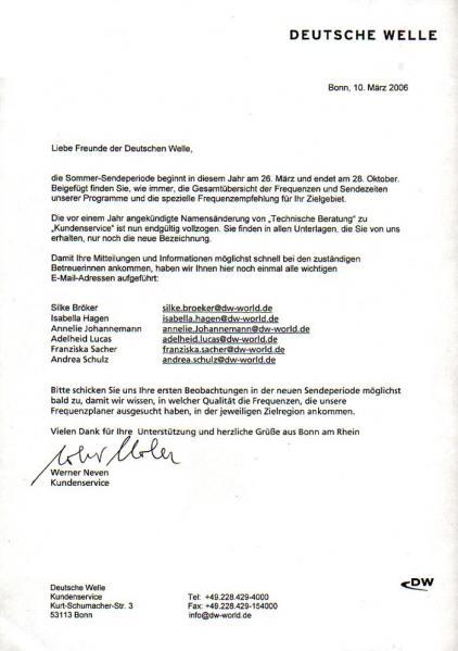 2006年3月10日 ドイチェ・ヴェレ(ドイツ) 2006年3月26日からのスケジュール変更の告知 ドイツ語