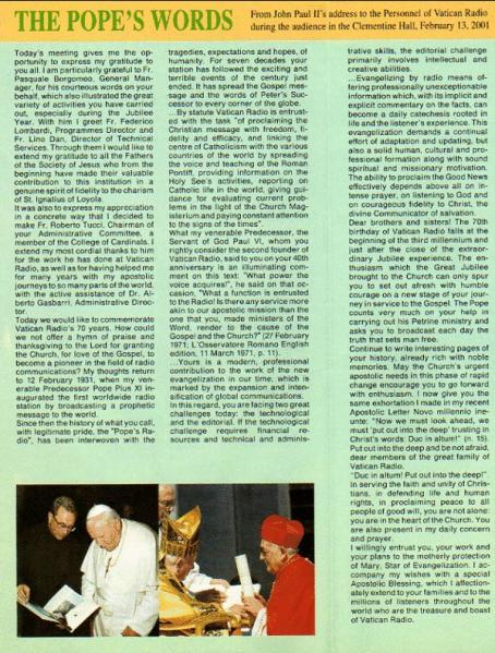 VATICAN RADIO, THE POPE'S WORDS, February 13, 2001
