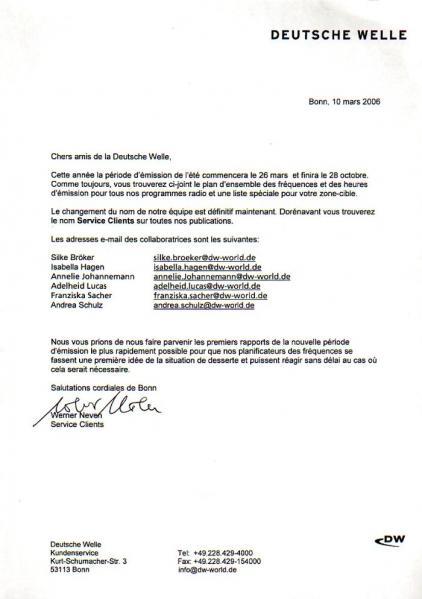 2006年3月10日 ドイチェ・ヴェレ(ドイツ) 2006年3月26日からのスケジュール変更の告知