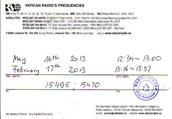 2013年2月17日および5月16日受信 バチカン放送