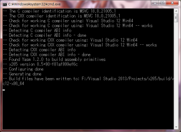 x265_build_cmake_vc2013