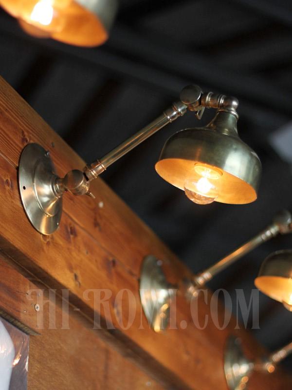 ヴィンテージ工業系2点角度調整付きキーレス真鍮ブラケットA/アンティーク照明インダストリアルウォールランプ/店舗設計 建築 設計 利にベーション 照明計画 ライティング アンティーク ヴィンテージ