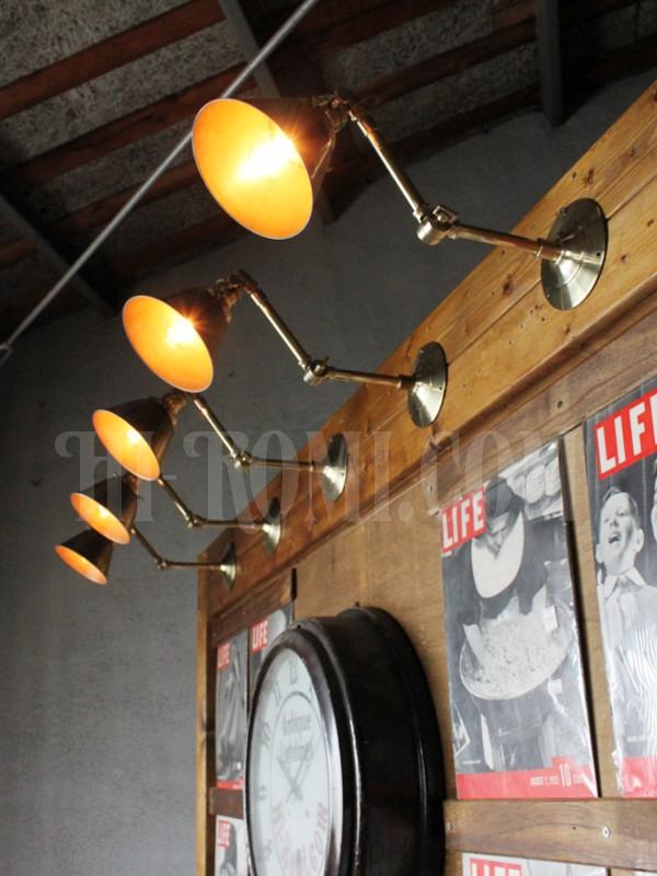 ヴィンテージ工業系シェード&角度調整付きターン式スイッチ真鍮ブラケットA/アンティーク照明インダストリアルウォールランプ/店舗設計 建築 設計 利にベーション 照明計画 ライティング アンティーク ヴィ