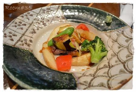 茄子とローストビーフの挟み焼