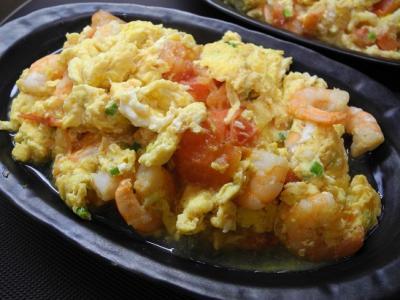 20130813卵とトマトとエビ炒め