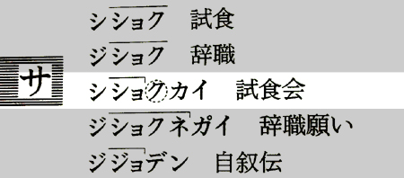 NHKアクセント辞典の「試食会」の表記