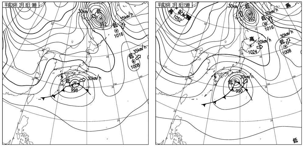 2014年2月8日の天気図