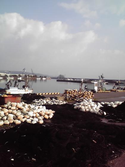 ブイと漁網の交差
