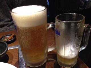 中ビールと特大ビール