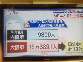 002南海トラフ地震で大阪府の死亡者13万人