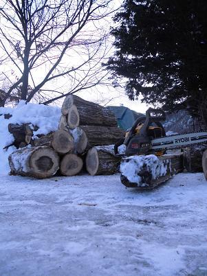 真冬の薪作り(2014年1月)
