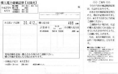 2013年3月分の電気ご使用量のお知らせ(売電)