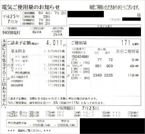 2013年6月電気ご使用量のお知らせ(買電)
