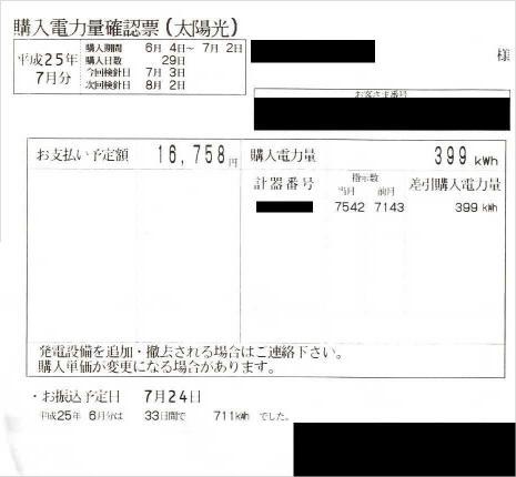 2013年6月電気ご使用量のお知らせ(売電)