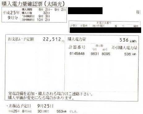 電気ご使用量のお知らせ9月分売電