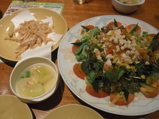 やわらかささみの夏サラダと海老の唐揚げ