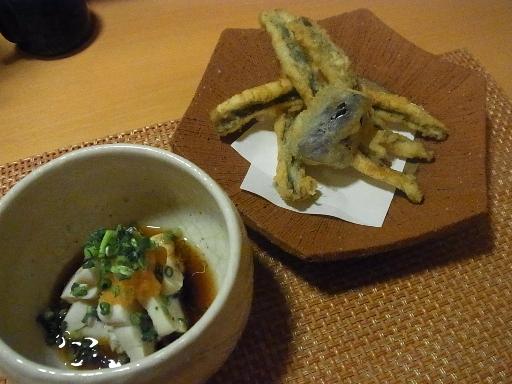 天然真鯛の白子ポン酢・銀宝の天麩羅