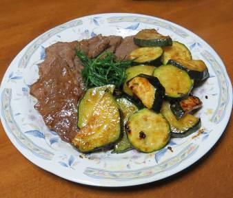 ズッキーニと牛肉の料理