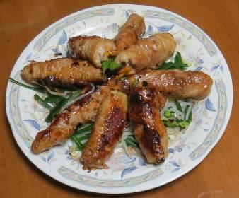 ニラ花と肉の料理