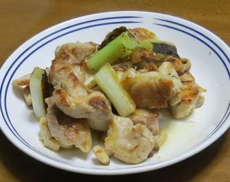 ネギと鶏肉炒め