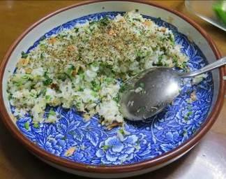 カブの葉と鮭のご飯