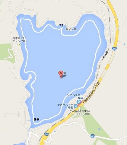 青木湖白い線がカヌーコース