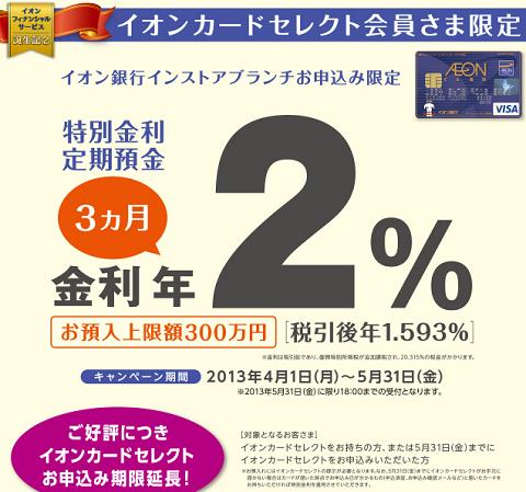 イオン銀行特別定期預金2%